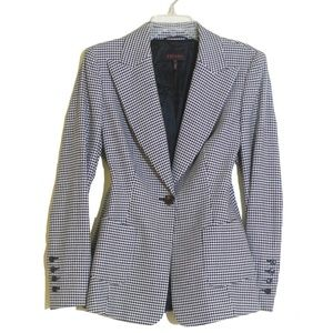 Escada Black & White Houndstooth Blazer Jacket